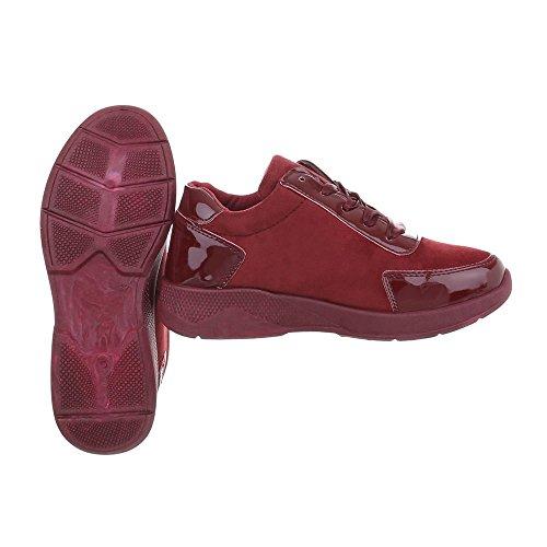Ital-Design Scarpe da Donna Sneaker Piatto Sneakers Low Bourgogne