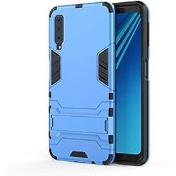 AOBOK Coque Samsung Galaxy A7 2018, Bleu Élégant Etui Robuste Hybride Armure Hull Couverture, Anti-Scratch, Parenthèse Pliable Housse pour Samsung Galaxy A7 2018 Smartphone