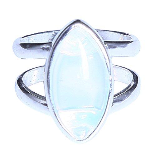 L_shop Double Oval Thai Silber Mondstein Ring Frauen Edlen Schmuck Klassisches Elegantes Geschenk intarsien Edelsteine,Bildfarbe,Wie es Beschreibung
