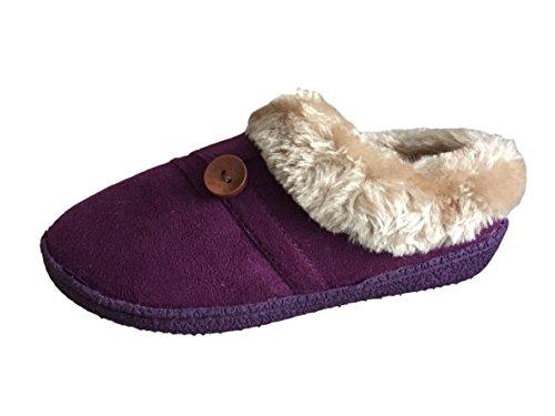 Damen Luxus Jyoti Pantoffeln mit Pelz Manschette and Knopf Detail 3 4 5 6 7 8 UK Lilac