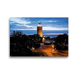 Premium Textil-Leinwand 45 x 30 cm Quer-Format Leuchtturm an der Ostsee in Kolobrzeg (Polen) | Wandbild, HD-Bild auf Keilrahmen, Fertigbild auf hochwertigem Vlies, Leinwanddruck von Christian Bosse
