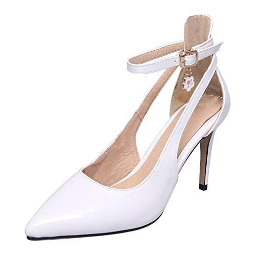 Artfaerie Damen High Heels Riemchen Spitz Stiletto Pumps Lack mit Schnalle 8cm Absatz Fashion Schuhe (EU 35,Weiss)