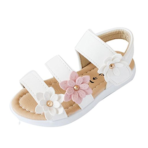 Smrbeauty sandali per bambina, sandali punta aperta bambina , ragazze velcro bellissime bimba suola morbida grande fiore principessa scarpe (27, bianco)