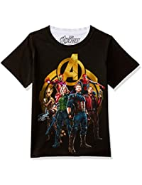 Marvel Avengers Round Neck Black Polyester T-Shirt for Boys DMA0047