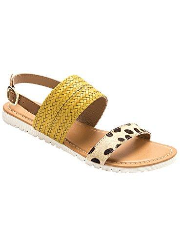Balsamik - Sandali piatti in pelle - - Size : 38 - Colour : Giallo/Naturale/Leopardo