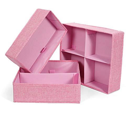 BrilliantJo Leinwand Aufbewahrungsboxen für Kinderzimmer, 3er Set Faltbare Schubladen Organizer Unterwäsche Socken Box Ordnungssystem Stoffbox für Kind, Unterwäsche, Kopfschmuck Rosa (Organizer Schublade Karton)