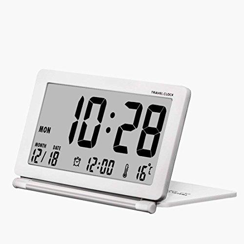 Pequeño reloj despertador digital que funciona con pilas para viajar, con fecha,...