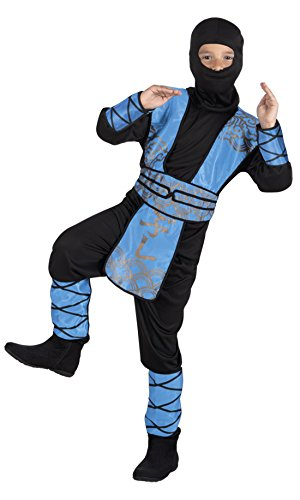 en Kong Fu-Kämpferkostüm mit Kopfbedeckung , Mehrfarbig, Größe 104-116, 4-6 Jahre (Fantastic 4 Kostüm)