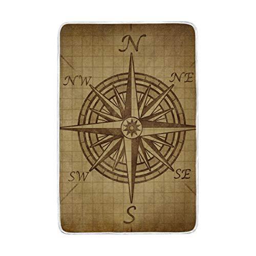 DOSHINE Twin Decke, Vintage Kompass Rose Navy Navigation Weiche, leichte Warmer Decken 152,4 x 228,6 cm für Sofa Bett Stuhl Büro