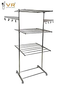VR 3-Tier Foldable Cloth Drying Stand/Rack Fully Stainless Steel Cloth Dryer Stand (Stainless Steel)
