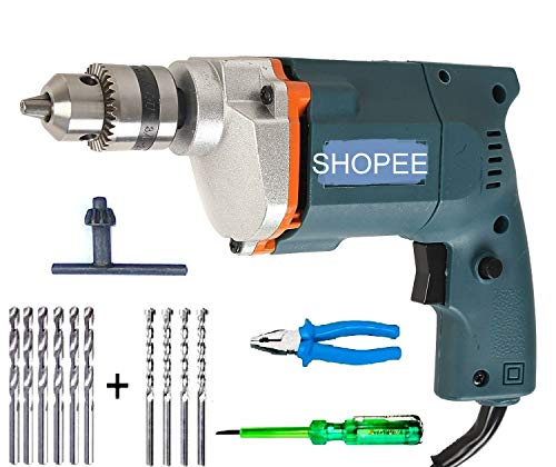 SHOPEE-Branded-10Mm-300w-2600rpm-Powerful-Drill-Machine-with-13pcs-bits-SetNose-plierTester-Combo-Offer-Color-May-Very