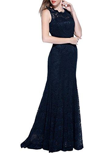 Miusol Damen Kleid Elegant Spitzen Sommer Rueckenfrei Aemerlos Langes Fishtail?Brautjungfer Cocktailkleid Dunkelblau Gr.L - 3