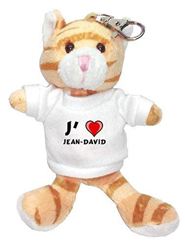 Chat marron peluche porte-clé avec J'aime Jean-David (Noms/Prénoms)