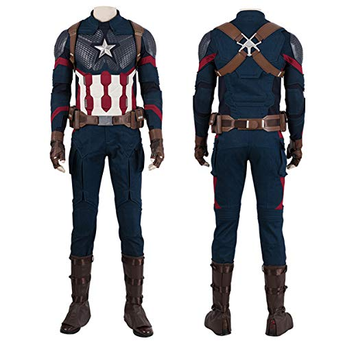Captain America Custom Kostüm - QWEASZER Marvel Avengers 4 Captain America Kampf Enger Body Halloween Cosplay Verrücktes Kleid Party Kostüm Anime Film Performance Onesies,Captain America-Custom Size