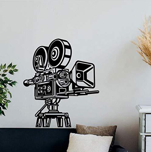 HLZLA Retro Kamera Wandtattoo Kino Video Film Decor Vinyl Aufkleber Heimkino Wandkunst Haus Studio Tapete Wandbild 42x49 cm