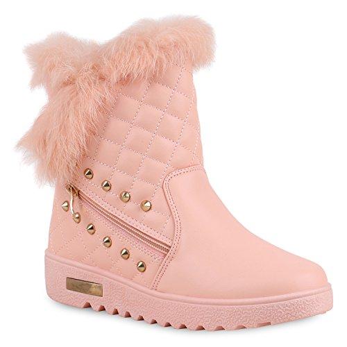 Warm Gefütterte Damen Stiefeletten Fell Winterboots Schuhe Rosa