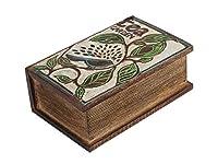 Storeindya Merci Donnant Handcrafred Boîte à café en bois et étiquette de thé gratuite Marque-page avec organisateur plateau et oiseau bleu conçu pour personne handicapée sur une boîte de rangement