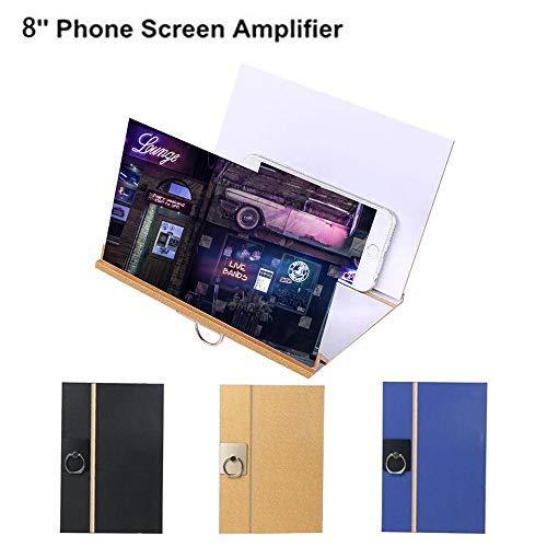"""Cooljun Universal Smartphone Bildschirmlupe Handyhalter Vergrößern Handy Lupe Bildschirm 3D 8"""" Premium Faltbarer Holz Projektor mit 4-Fach-Vergrößerung (Schwarz)"""