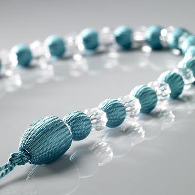 Earle Teal Blue Crystal Beaded Rope Curtain Tie Backs One Pair (2)