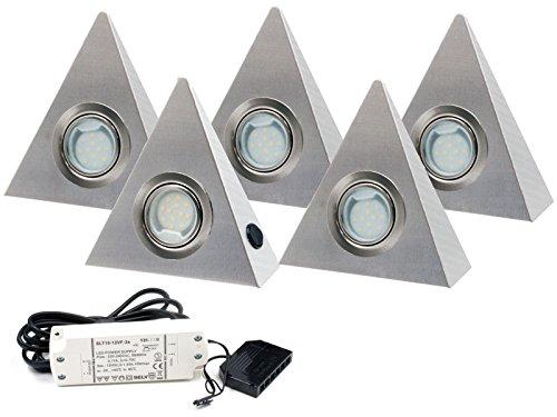 5er Set LED Dreieckleuchte Unterbauleuchte Küchenleuchte EDELSTAHL 2,5W Warmweiß mit Zentralschalter