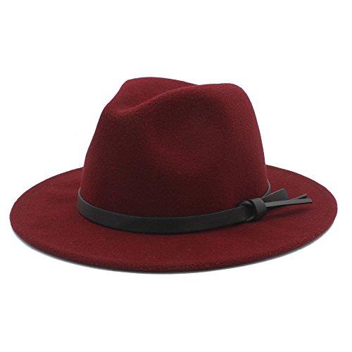 Unbekannt Hut- Männer Wolle Fedora Panama Wintermütze mit Lederband (Farbe : 2, Größe : 57-58 cm)