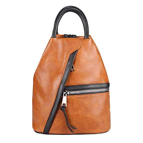 OBC Damen Rucksack Tasche Schultertasche Leder Optik Daypack Backpack Handtasche Tagesrucksack Cityrucksack Cognac-Schwarz -