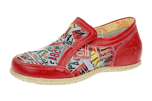 Eject road, mocassins femme rouge-print-cuirs cuir, chaussures basses femme Rouge - Rouge