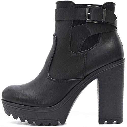 Vain Secrets Damen Chelsea Plateau Boots Stiefeletten mit Absatz Profil Sohle (40, Schwarz M3)