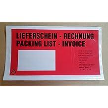 1000 Stück Lieferscheintaschen PP DIN lang 230x120 Dokumenten- Rechnung 10sprachig rundum verschweißt dicke Qualität Profiware von MD