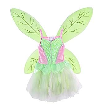LUOEM Costume Fata Farfalla Bambina Ali da Farfalla e Vestito Fatina Verde Rosa Taglia M 110-125cm