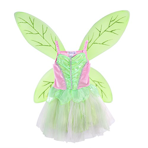 LUOEM Mädchen Fee Tinkerbell Kostüm Pixie Tinkerbell Flügel und Kleid Set grün rosa Größe L (Tinkerbell Kostüm Mädchen)