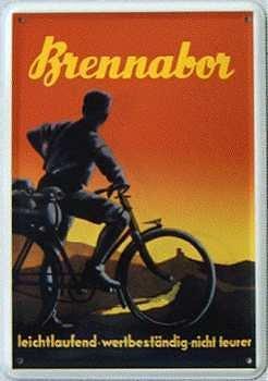 Brennabor Fahrrad Blechpostkarte