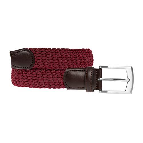 ertiger, elastischer, geflochtener Stretch-Gürtel mit echtem Premium Vollrindleder, Flechtgürtel, Stoffgürtel für Damen und Herren, Geschenkbox, burgundrot, 115 cm ()