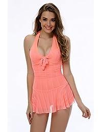 SZIVYSHI Damen Ein Stück Schlankheits Badeanzug Bademode Badekleid Einteiler mit Röckchen