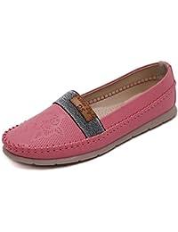 Minetom Mujer Primavera Otoño Ocio Plano Zapatos De Coser Hilo Zapatos Del Barco Cómodo Shoes Mocasines