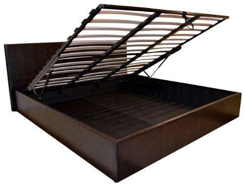 Black 6ft Super King Size Storage Ottoman Gas Lift Up Bed Frame TIGERBEDS BRANDED PRODUCT