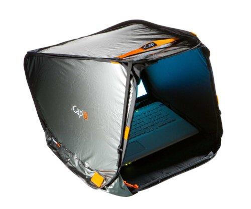 iCap® MAX PRO Notebookzelt, Outdoor Protektor gegen Sonnenlicht, Verblendung, Regen, Staub Hitze, Kälte. Für MacBook, Notebook und big Tablets - 17 bis 19 Zoll - Breite 45 cm - Silber -