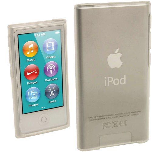 igadgitz Klar Glänzend Dauerhafte Kristall Gel Tasche TPU Hülle Schutzhülle Etui für Apple iPod Nano 7. Gen Generation 7G 16GB + Displayschutzfolie (Apple Ipod Nano 7 Generation)