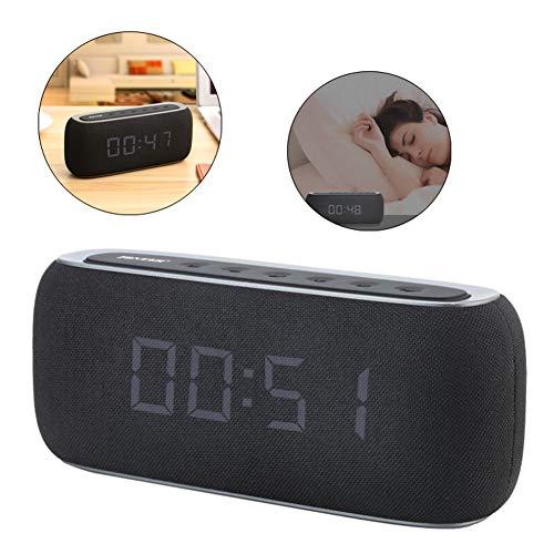HEDDK Bluetooth Lautsprecher Digital Wecker Portable Home Lautsprecher 3D Stereo Verbesserte Basslautsprecher Unterstützung FM Radio Spiegel Uhr Lautsprecher (Fm-radio-basslautsprecher)