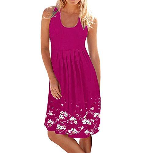 Linkay Kleid Damen Kurz Ärmellos Rock Sommer Abend Party Strand Kleider Mode 2019 (Hot Pink, X-Large)