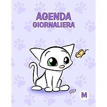 Agenda giornaliera - M: Viola - Gatti - Perpetua (Senza date) - 15x19 cm
