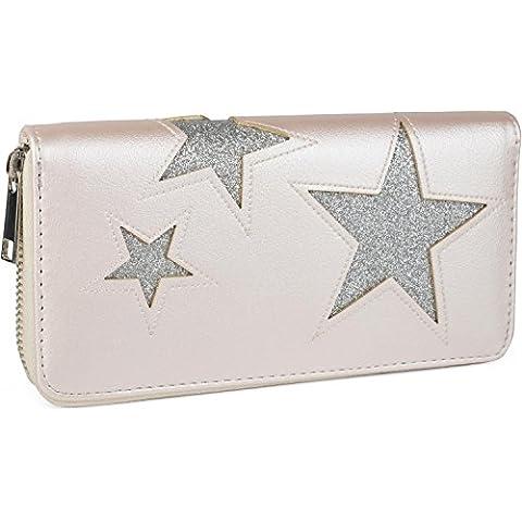styleBREAKER monedero con motivo de estrellas recortadas y costuras ornamentales, cremallera circular, mujeres 02040037