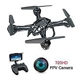 Lefant-Drohne mit Kamera 720P, FPV-Drohnen mit optischem Fluss, Live-Video-Selfie-Quadcopter, RC WiFi-Hubschrauber, Schwerkraftsensor, Auto-Hovering, VR-Modus für Profis, Erwachsene, Anfänger(Schwarz)