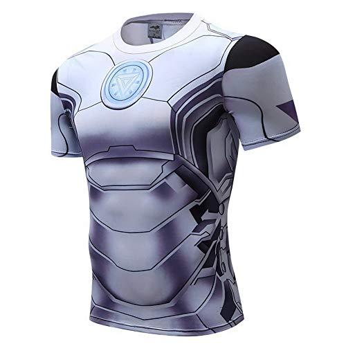 HOOLAZA Avengers Super Heroes Men Kurzärmeliges Kompressions-T-Shirt Iron Man Tops Fitness
