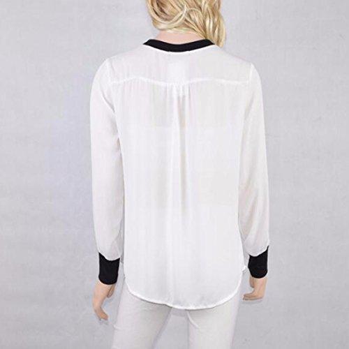 Colorblock Weißes Schwarzes Chiffon Runder Ansatz Knopf Unten Oberseiten Blusen Smokinghemd Weiß