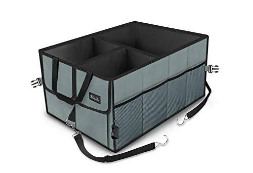 Organisateur de botte de voiture, sac de botte de voiture EletecPro imperméable pliable 2 dans 1 boîte de rangement pliable avec sangles pour voiture, SUV, monospace, camionnettes et à l'intérieur