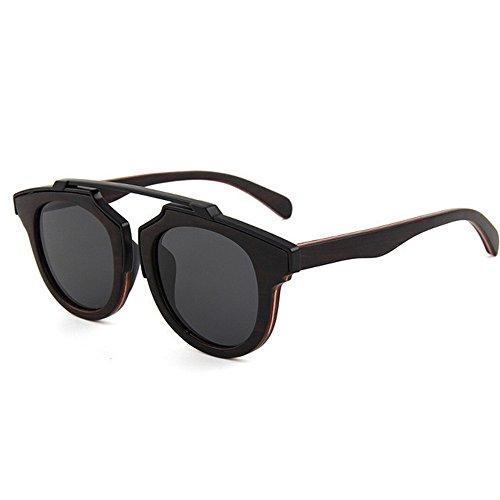 Easy Go Shopping Herren Sonnenbrillen HandmadeMetal Dekoration Holz polarisierte Sonnenbrillen Gentleman UV-Schutz Fahren Strand Sonnenbrillen (Farbe : Schwarz)