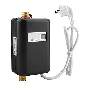 Zerodis Mini calentador de agua, 3800W 220V Calentador de agua instantáneo eléctrico Sistema de agua caliente de la ducha sin tanque para Cocina Baño (Black)