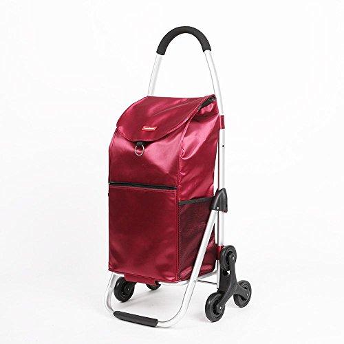 HCC& Einkaufswagen Dolly Die Treppe heraufsteigen Zusammenklappbar Tragbar Wagen Hohe Kapazität Lebensmittel Auto Hohe Festigkeit EVA Rollende Schwenkräder Dynamische Belastung: 35kg , Red (Anhängerkupplung Dolly)