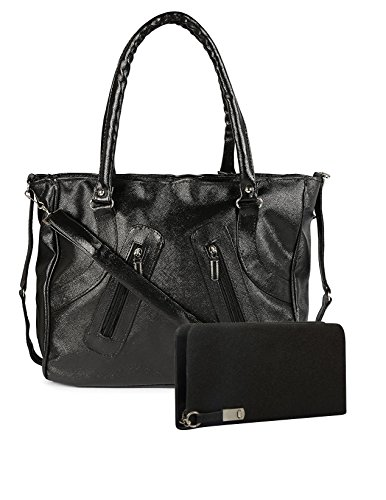 Flora Premium PU Leather Women's Handbag And Wallet Clutch Combo (LBWB-5) (Black Color)